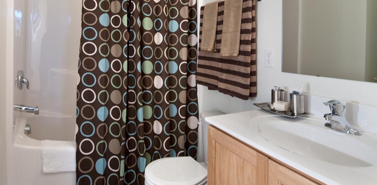 view of a bathroom within one of the apartments at Village at Blue Hen