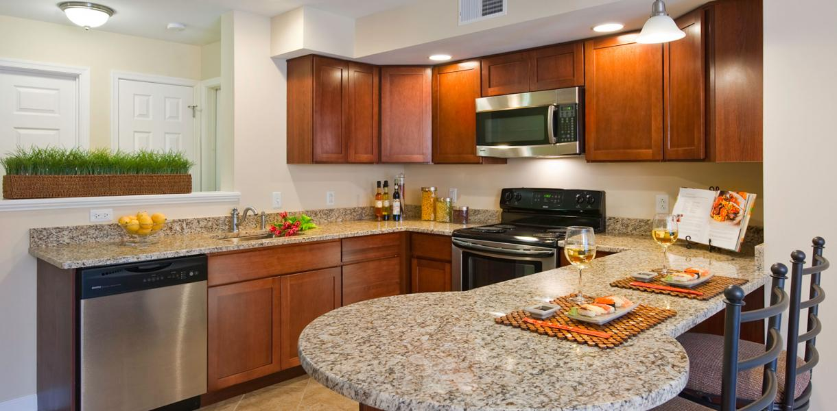 view of a kitchen within one of the apartments at the Tower of Greenville featuring a breakfast bar